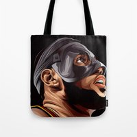 lebron Tote Bags featuring THE KING by THEMAD3