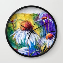 Cone Flowers by Maureen Donovan Wall Clock