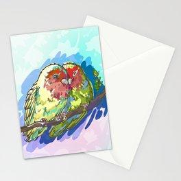 Expressive Parrots Lovebirds Stationery Cards
