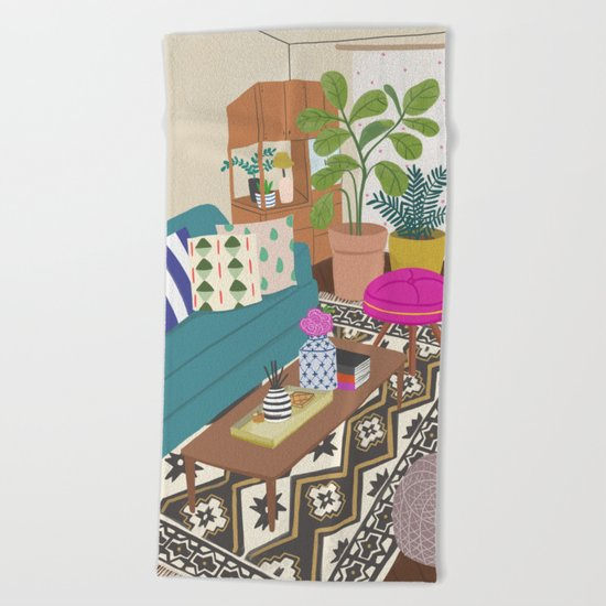 Home Series 1, interior, home, place, living room illustration Beach Towel