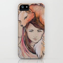Safe in My Red Riding Hood, Balsa iPhone Case