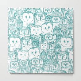 just owls teal blue Metal Print