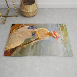 Isaac Lazarus Israels - oung Woman Rowing On The Thames - Digital Remastered Edition Rug