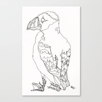 puffin Canvas Prints featuring Puffin by Alice Suttle
