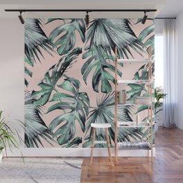 Island Love Coral Pink + Green Wall Mural