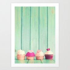 Cupcakes over mint Art Print