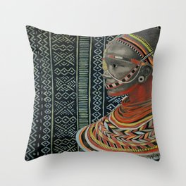 The Red Beads/mud cloth background Throw Pillow