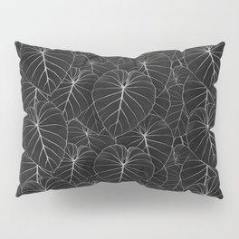 blackwork philodendron leaves Pillow Sham