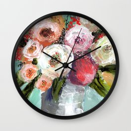 Peach and White Roses Wall Clock