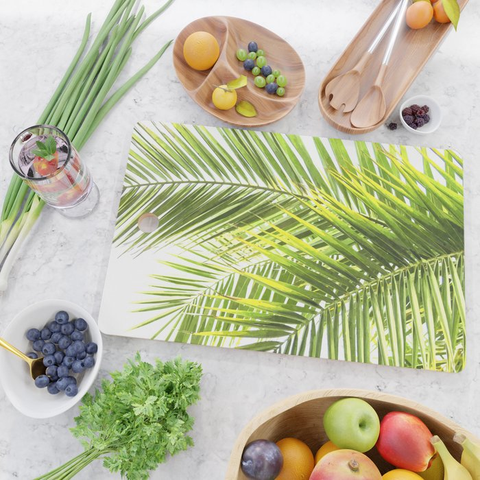 Palm leaves tropical illustration Cutting Board