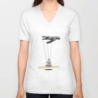 magritte V-neck T-shirts featuring Magritte meets Hockney by Laura San Roman
