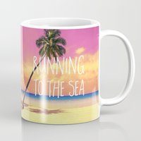 running Mugs featuring Running to the Sea by Text Guy