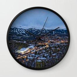 BRECKENRIDGE COLORADO PHOTO - WINTER NIGHT IMAGE - SKI TOWN PICTURE - CITY PHOTOGRAPHY Wall Clock