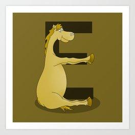Pony Monogram Letter E Art Print