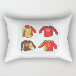 Nordic Christmas Jumper Clipart Set. Hand Drawn Embroidered Ugly Sweater Rectangular Pillow