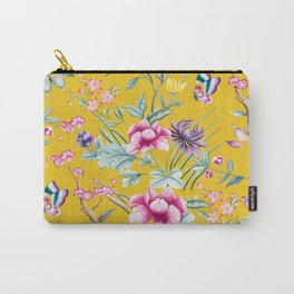 Yellow Chinoiserie Asian Floral Print Carry-All Pouch