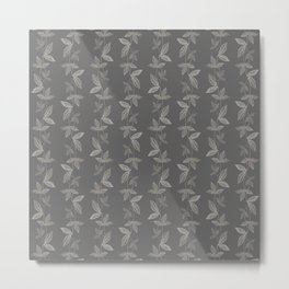 Leaf Design in Charcoal Gray Metal Print