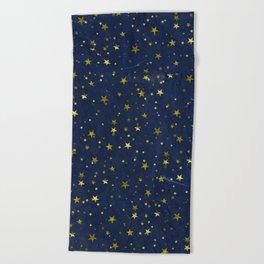 Golden Stars on Blue Background Beach Towel