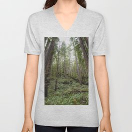 Fern Alley - Redwood Forest Nature Photography Unisex V-Neck