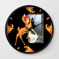 givenchy Wall Clocks featuring Givenchy scarf with flame and bambi print by Le' + WK$amahoodT Boutique by Paynasa®
