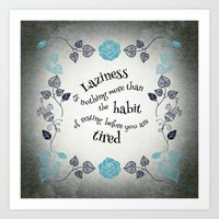 Lazy Floral Rest in Grey and Blue Art Print