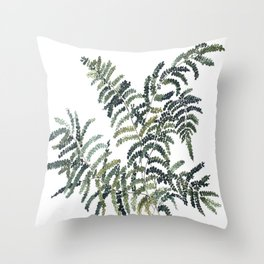 Woodland Fern Botanical Watercolor Illustration Painting Throw Pillow