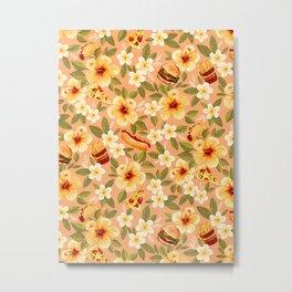 Fast Food Floral Metal Print