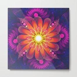Purple Hibiscus Tea with Orange Chamomile Flowers Metal Print
