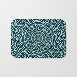 Sailor Blue and Mint Geometric Kaleidoscope Mandala Bath Mat