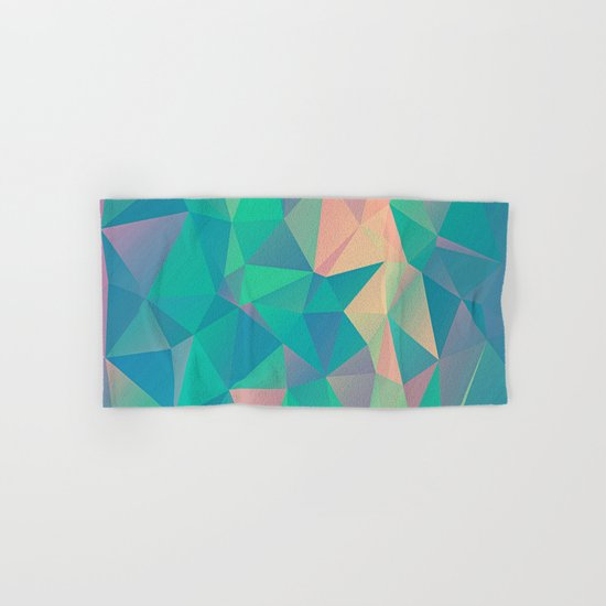 Fractured, Colorful Triangles Geometric Shapes Hand & Bath Towel