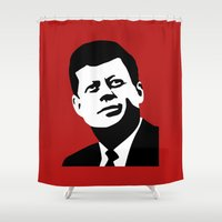 jfk Shower Curtains featuring JFK Poster by Steve Lovelace