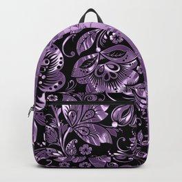 Purple & Black Damask Pattern Backpack