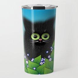 Black Cat retreating in the garden Travel Mug