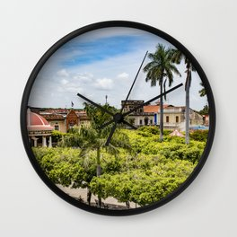 Red Gazebo and Trees Lining the Parque Colon de Granada in Nicaragua Wall Clock