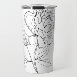 Botanical illustration line drawing - Peony Travel Mug