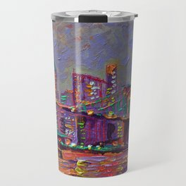 New York City Lights - palette knife painting abstract manhattan skyline Brooklyn bridge Travel Mug