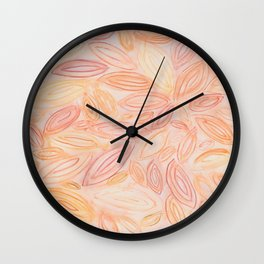 Fall Leaves in pale orange, terracotta, light yellow, muted red Wall Clock