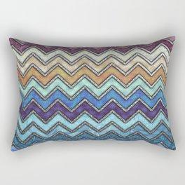 Colorful Silver Chevron Pattern Rectangular Pillow