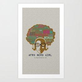 Afro Nerd Girl (Colours) Art Print