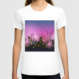 City silhouettes of different colors on red T-shirt