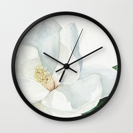Watercolor Magnolia Blossom Wall Clock