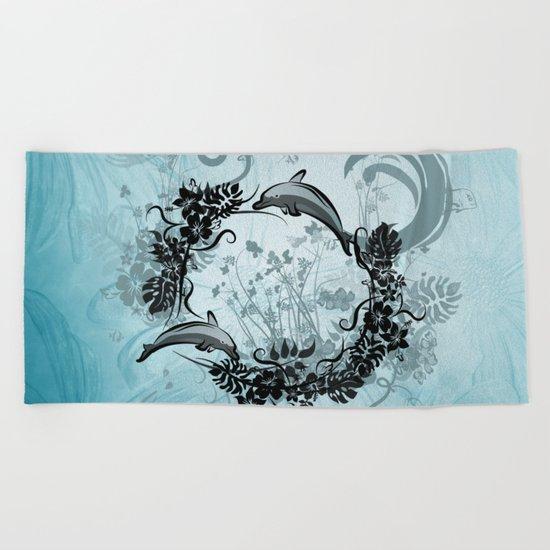 Cute dolphin Beach Towel