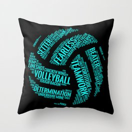 Turquoise Volleyball Wordcloud - Gift Throw Pillow
