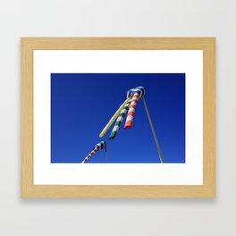 Colorful Flying Wind Flags in Knokke Framed Art Print