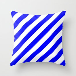 Diagonal Stripes (Blue/White) Throw Pillow