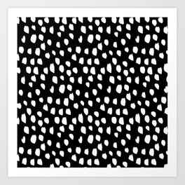 Handdrawn drops and dots on black - Mix & Match with Simplicty of life Art Print