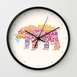 Bear in Different Languages Wall Clock