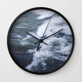 Rushing Blue Water and White Waves; water in motion  Wall Clock