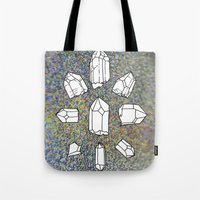 holographic Tote Bags featuring holographic crystal collection by HiddenStash Art