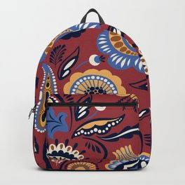 Abstract burgundy navy blue autumn floral Backpack